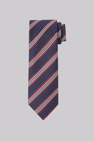 Moss Esq. Navy & Wine Stripe Silk Tie