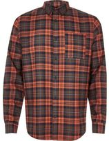 River Island MensOrange check flannel shirt