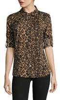 Karl Lagerfeld Printed Button-Front Top
