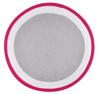Spot On Square Round Trio Handmade Crocheted Cotton Pink/Gray Area Rug