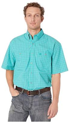 Wrangler George Strait Short Sleeve Two-Pocket Plaid (Emerald) Men's Short Sleeve Button Up