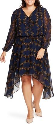1 STATE Long Sleeve Floral Handkerchief Hem Dress
