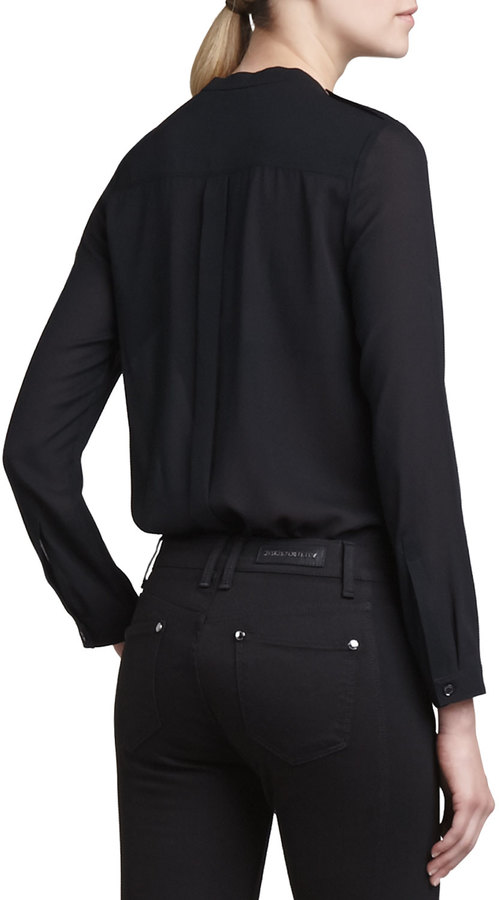 Burberry Long-Sleeve Chiffon Pocket Blouse