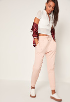 Missguided Nude Ribbed Tie Front Joggers