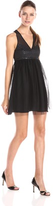 BCBGeneration Women's Sleeveless V-Neck Tulle Skirt Dress