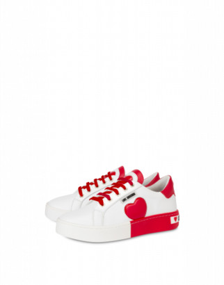 Love Moschino Calfskin Sneaker With Bicolor Sole Woman White Size 36 It - (6 Us)