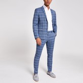 Mens River Island Blue check skinny suit jacket