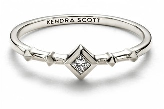 Kendra Scott Wave 14k White Gold Band Ring in White Diamond