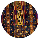 """Momeni Rugs NEWWANW-02BLU790R New Wave Collection, 100% Wool Hand Carved & Tufted Contemporary Area Rug, 7'9"""" Round"""