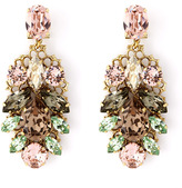 Anton Heunis Pink And Green Crystal Leaf Motif Drop Earrings