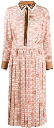 Elisabetta Franchi Logo-Print Pleated Dress