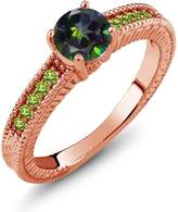 Gem Stone King 1.20 Ct Round Mystic Topaz Simulated Peridot 18K Rose Gold Engagement Ring