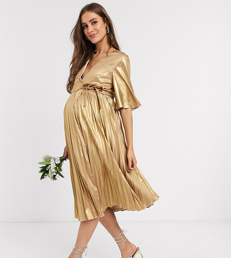 TFNC Maternity wrap front pleated midi dress in gold