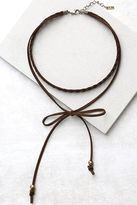 LuLu*s Everyday is a Winding Road Brown Suede Layered Choker Necklace