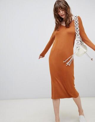 Asos Design DESIGN Midi Jumper Dress With V Neck And Ripple Stitch-Stone