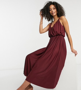 Asos Tall ASOS DESIGN Tall cami plunge midi dress with blouson top in oxblood