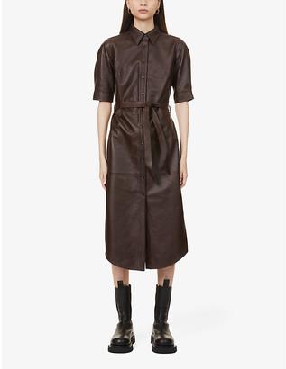 Frame Short-sleeved leather midi dress