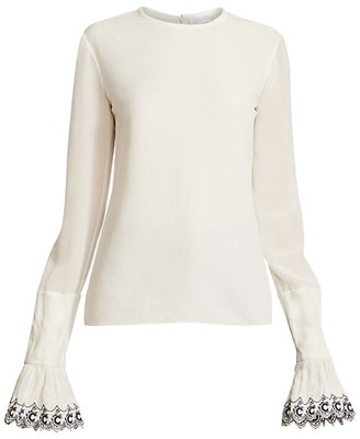 Chloé Emro-Cuff Long-Sleeve Silk Shirt