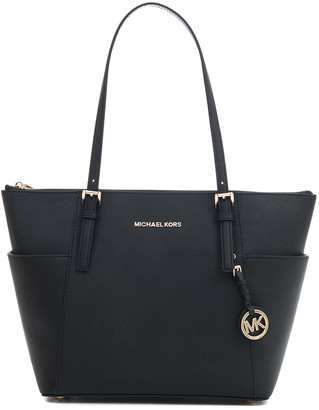 Michael Kors Women's Totebags Black - Black Jet Set Saffiano Leather Tote