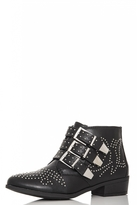 Quiz Black PU Studded Western Ankle Boots