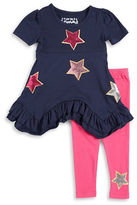 Flapdoodles Girls 2-6x Sequined Star Dress and Leggings Set