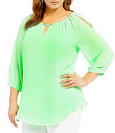 Peter Nygard Plus Cold Shoulder Blouse