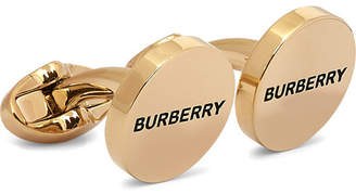 Burberry Logo-engraved Gold-plated And Enamel Cufflinks - Gold