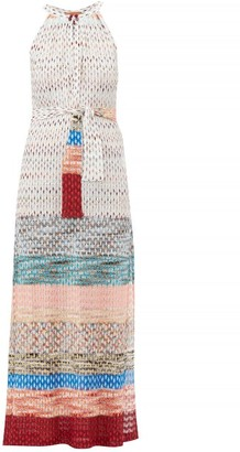 Missoni Mare - Belted Knitted Midi Dress - Womens - White Multi