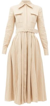 Emilia Wickstead Aurora Belted Cotton-blend Midi Dress - Womens - Beige