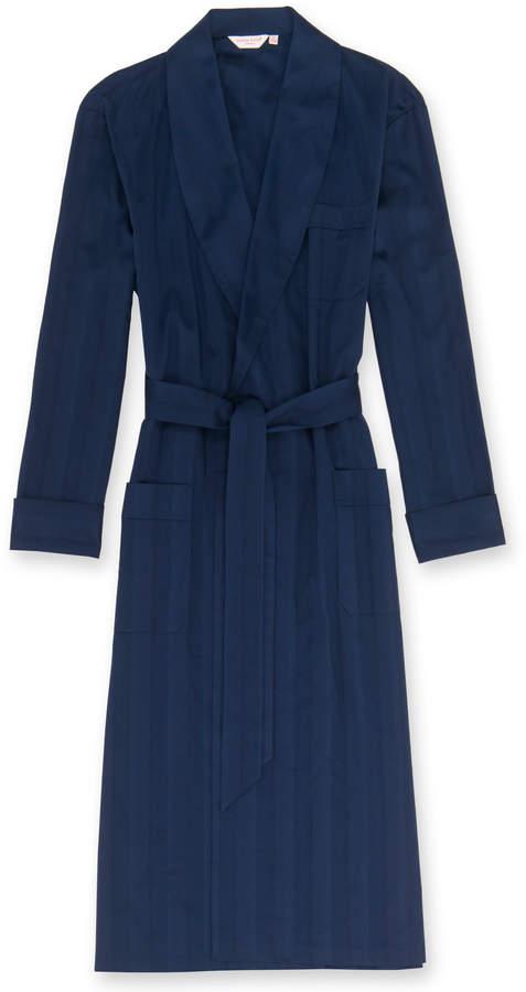Derek Rose Lingfield Navy Striped Cotton Robe