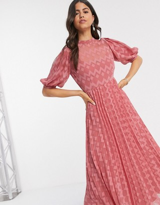 ASOS DESIGN high neck pleated chevron dobby midi dress with puff sleeve in tea rose