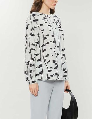 Reiss Tabitha leaf print crepe blouse