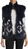 Adrienne Landau Open-Front Fox Fur Vest, Navy