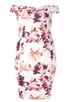 Quiz Curve Cream And Pink Flower Print Bardot Dress