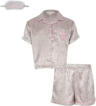 River Island Girls Grey snake satin pyjamas set