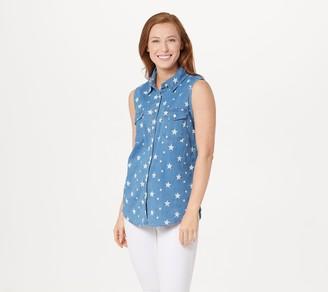 Denim & Co. Sleeveless Star Print Shirt