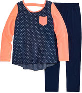 One Step Up Denim Long Sleeve Polka Dot Top Legging Set