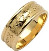 Fado Ladies 14k Yellow Wide Round Claddagh Wedding Ring Size 6.5