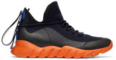 Fendi Navy and Orange Runner Sneakers