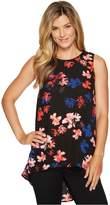 Vince Camuto Womens Sleeveless Ballard Floral High-Low Hem Blouse SM One