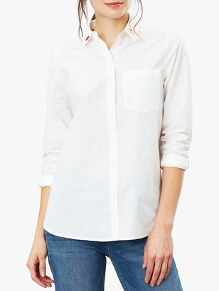 Joules Lorena Frog Kiss Brushed Cotton Shirt, Chalk