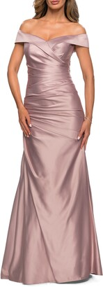La Femme Off the Shoulder Ruched Satin Trumpet Gown