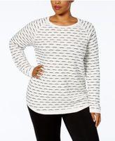 Karen Scott Plus Size Cotton Tuck-Stitch Sweater, Created for Macy's