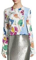 Diane von Furstenberg Floral-Print Side-Slit Crepe Blouse, Multi