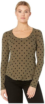 Lucky Brand Scoop Neck Polka Dot Raglan Thermal Top (Olive Multi) Women's Clothing