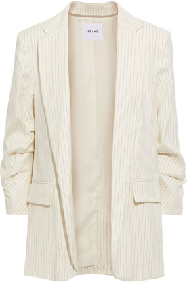 Frame Gathered Pinstriped Linen-blend Twill Blazer