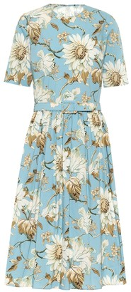 Oscar de la Renta Floral stretch-cotton midi dress