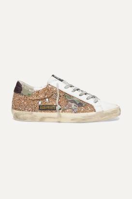 Golden Goose Superstar Glittered Distressed Leather Sneakers - IT35