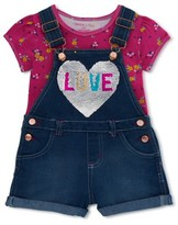 Colette Lilly Denim Shortall With Flip Sequins and Fashion Top, 2-Piece Outfit Set (Little Girls)