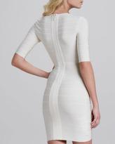 Herve Leger V-Neck Half-Sleeve Bandage Dress